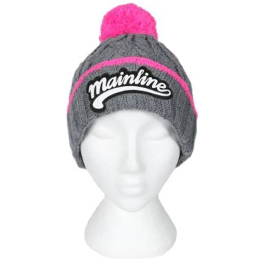 Mainline - Grey And Pink Chunky Bobble Hat
