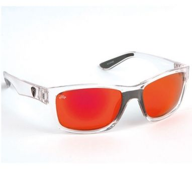 Fox - Rage - Sunglasses Clear Frame Red Mirrored Grey Lens